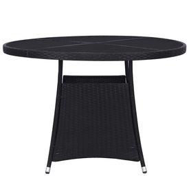 Masă de grădină, negru, 110x74 cm, poliratan