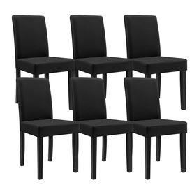 Masa eleganta Greta, stejar - MDF efect stejar maro deschis,140 x 90 cm - cu 6 scaune imitatie de piele, negru cu picioare negre