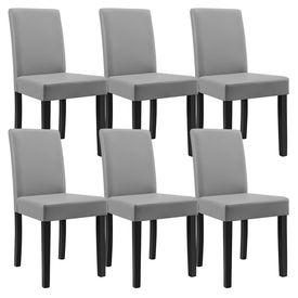 Masa eleganta Luna, MDF efect stejar - maro deschis, 140 x 90 cm - cu 6 scaune imitatie de piele, gri deschis cu picioare negre