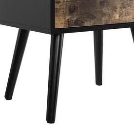 Masuta Amalia cu sertare, 60 x 40 x 29,5 cm, PAL/lemn, 10Kg, dreptunghiulara, efect lemn/negru