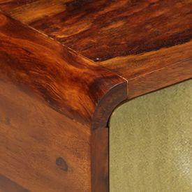 Măsuță cafea, 90x50x40 cm, lemn masiv sheesham, imprimeu auriu