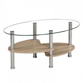 Masuta de cafea otel/sticla transparenta/stejar sonoma GL PANTY