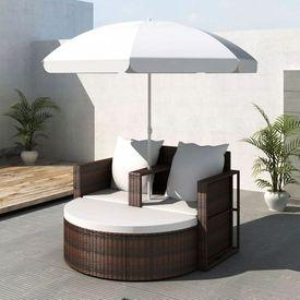 Mobilier grădină din poliratan cu parasolar, Maro