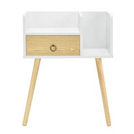 Noptiera cu sertar Dodo, 64 x 50 x 36 cm, PAL, alb/efect lemn