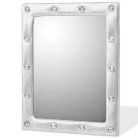Oglindă de perete, piele artificială, 40x50 cm, argintiu lucios