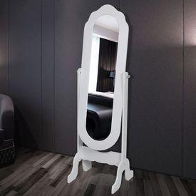 Oglindă de podea cu suport Alb Reglabilă