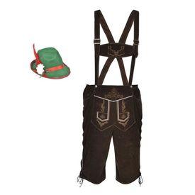 Pantaloni bavarezi cu pălărie pentru Oktoberfest mărimea XXL