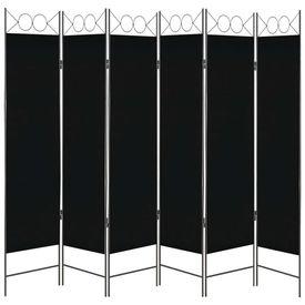 Paravan de cameră cu 6 panouri, negru, 240 x 180 cm