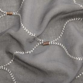 Perdele transparente cu broderie, 2 buc., 140 x 245 cm, gri