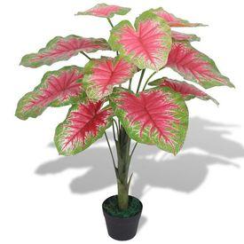 Plantă artificială Caladium cu ghiveci, 70 cm, verde și roșu