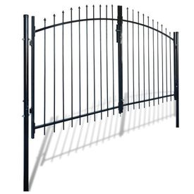Poartă de gard cu uși duble, cu vârfuri de suliță, 300 x 175 cm
