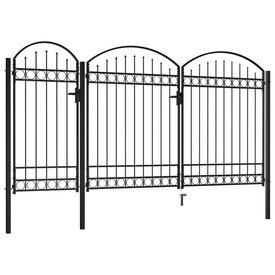 Poartă de gard de grădină cu arcadă, negru, 2,5 x 4 m, oțel