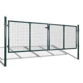 Poartă gard din oțel, 289 x 125 cm/306 x 175 cm, verde