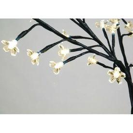 Pom Crăciun, LED-uri lumină albă caldă, flori de cireș, 120 cm