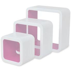 Rafturi cub de perete, 6 buc., alb și roz