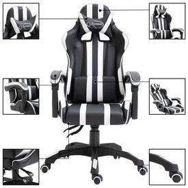 Scaun pentru jocuri, alb, PU