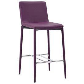 Scaune de bar, 4 buc., violet, piele ecologică