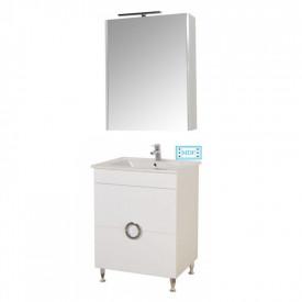 Set Baza, lavoar baie GN0811 cu sertare si oglinda GN5011 - 60 cm alb