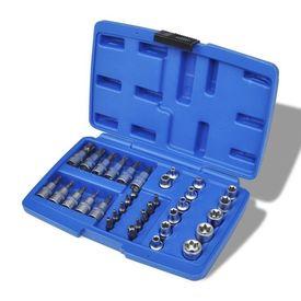 Set cheie tubulară cap torx și cap stea cu cutie, 34 piese