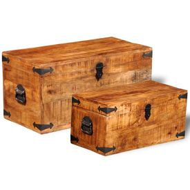 Set cufere de depozitare, 2 piese, lemn mango nefinisat
