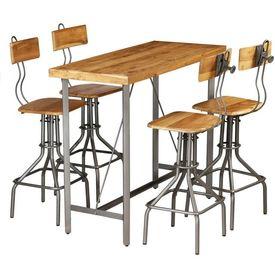 Set de bar, 5 piese, lemn masiv de tec reciclat
