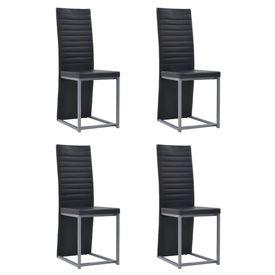 Set de mobilier, 5 piese, negru, imitație piele și oțel, sticlă