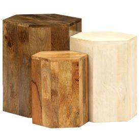 Set măsuțe cafea, 3 piese, lemn masiv de mango