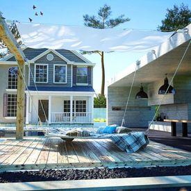 Set pânză parasolar terasă, textil oxford, 140x270 cm