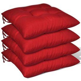 Set perne de scaun, 4 buc, 40 x 40 x 8 cm, roșu