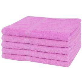 Set prosoape de duș, 5 buc, bumbac, 360 g/m², 70 x 140 cm, roz