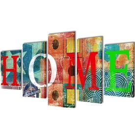 Set tablouri din pânză cu imprimeu colorat Home 200 x 100 cm