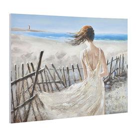 Tablou pictat manual - femeie la mare - panza in, cu rama ascunsa - 90x120x3,8cm