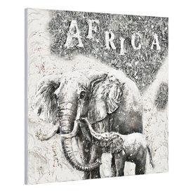 Tablou pictat manual - pe elefant - panza in, cu rama ascunsa - 100x100x3,8cm