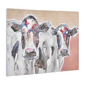 Tablou pictat manual - vaci - panza in, cu rama ascunsa - 90x120x3,8cm
