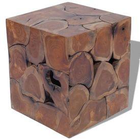 Taburet din lemn de tec masiv 40 x 40 x 45 cm