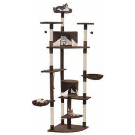 vidaXL Ansamblu pisici cu stâlpi din funie de sisal 203 cm Maro și Alb