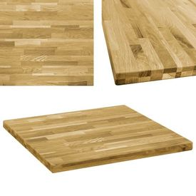 vidaXL Blat de masă, lemn masiv de stejar, pătrat, 44 mm, 80x80 cm