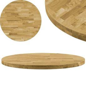 vidaXL Blat de masă, lemn masiv de stejar, rotund, 44 mm, 500 mm