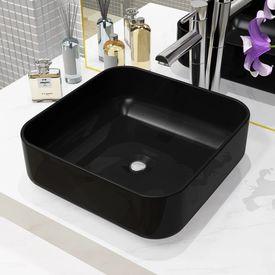 vidaXL Chiuvetă de baie din ceramică, pătrată, negru, 38x38x13,5 cm