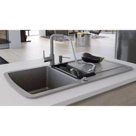 vidaXL Chiuvetă de bucătărie din granit, cu bazin dublu, gri