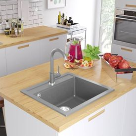 vidaXL Chiuvetă de bucătărie din granit, cu un bazin, gri
