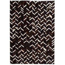 vidaXL Covor piele naturală, mozaic, 160x230 cm zig-zag Negru/Alb
