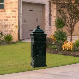 vidaXL Cutie poștală stâlp, aluminiu, stil vintage, inoxidabil, verde