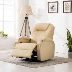 vidaXL Fotoliu de masaj electric rabatabil, piele artificială, crem