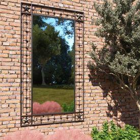 vidaXL Oglindă de perete de grădină, negru, 60x110 cm, dreptunghiular