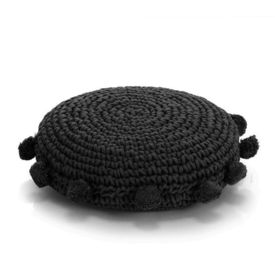 vidaXL Pernă pardoseală rotundă tricotată, bumbac 45 cm, negru