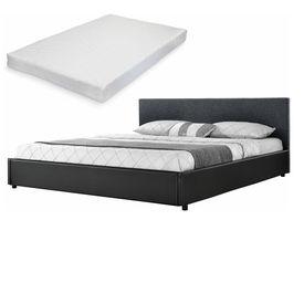 Corium® [my.bed] Pat frantuzesc elegant - cu saltea cu spuma recel - 140x200cm (Partea capului: tesatura negru Rama: imitatie de piele negru) - cu rama pat