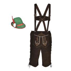 Pantaloni bavarezi cu pălărie pentru Oktoberfest mărimea XL