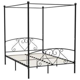 Cadru de pat cu baldachin, negru, 160 x 200 cm, metal