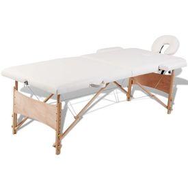 Masă de masaj pliabilă 2 zone cadru de lemn + set accesorii